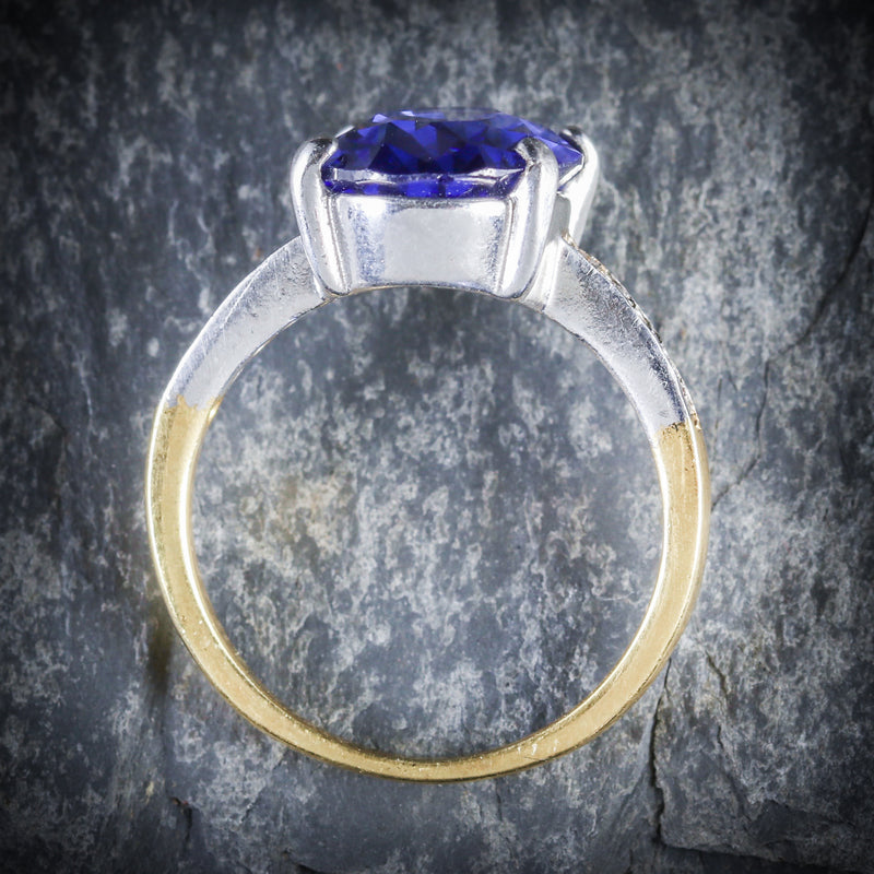 TANZANITE PASTE LARGE SOLITAIRE RING 18CT GOLD SILVER TOP