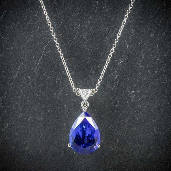 Tanzanite Diamond Pendant Necklace Platinum Chain AAA Grade Tanzanite front