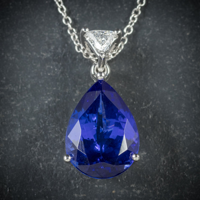 Tanzanite Diamond Pendant Necklace Platinum Chain AAA Grade Tanzanite pendant