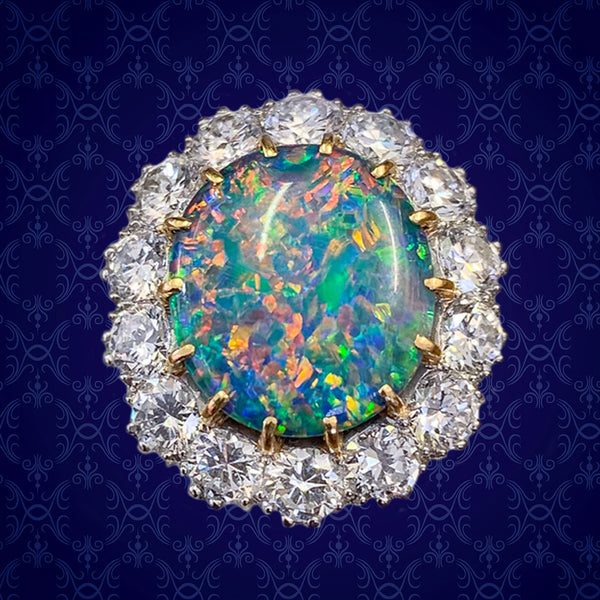 VINTAGE BLACK OPAL CLUSTER RING PLATINUM 5.75CT OPAL CIRCA 1970 cover