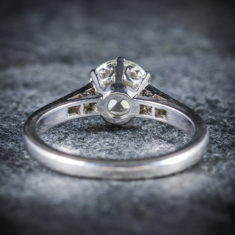 ANTIQUE EDWARDIAN PLATINUM 1.58CT SOLITAIRE DIAMOND RING CIRCA 1915 BACK