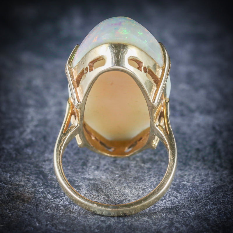 VICTORIAN MAGNIFICENT LARGE 20CT NATURAL OPAL GOLD RING REAR