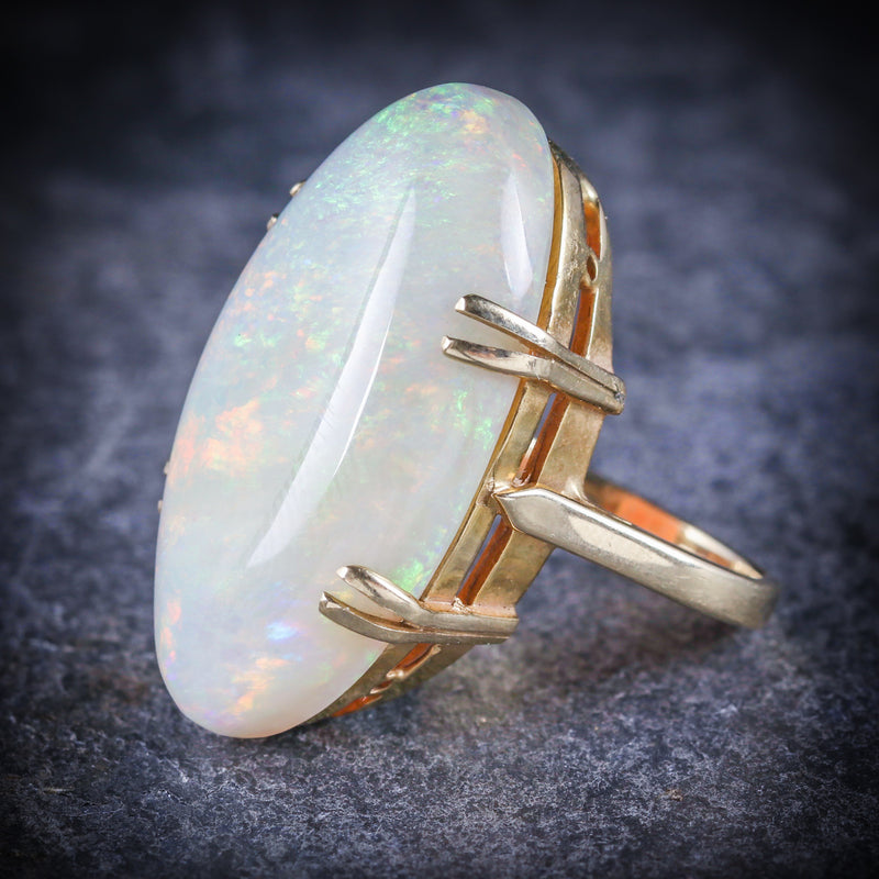 VICTORIAN MAGNIFICENT LARGE 20CT NATURAL OPAL GOLD RING SIDE