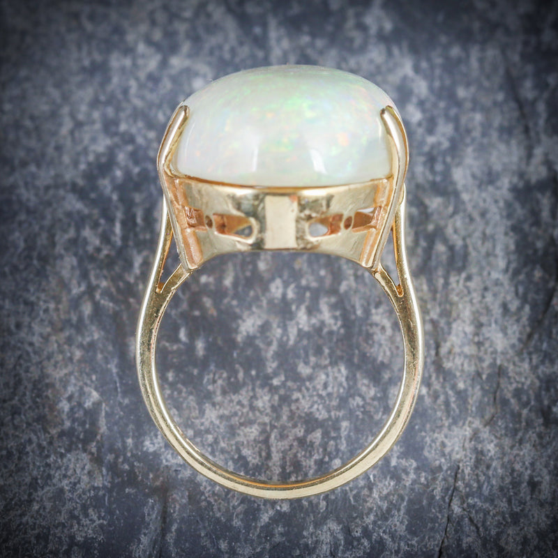 VICTORIAN MAGNIFICENT LARGE 20CT NATURAL OPAL GOLD RING ABOVE
