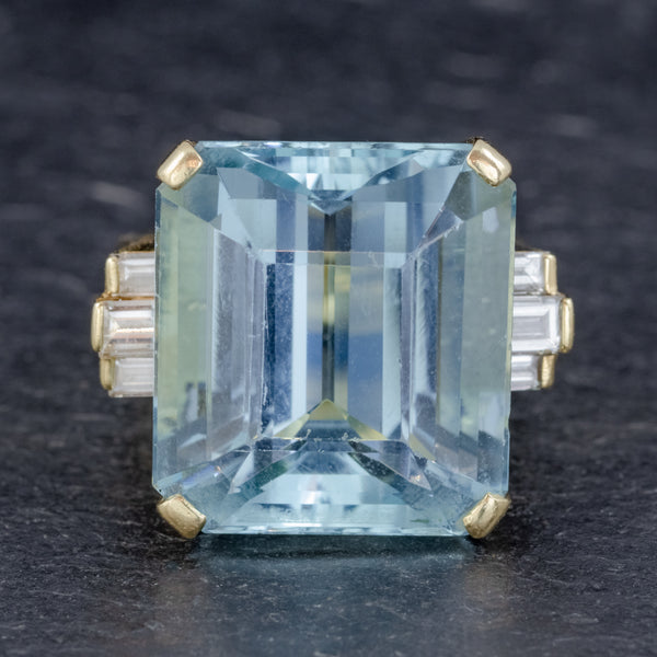 VINTAGE AQUAMARINE DIAMOND COCKTAIL RING 18CT GOLD 28CT EMERALD CUT AQUA FRONT