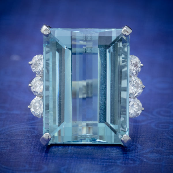 VINTAGE AQUAMARINE DIAMOND COCKTAIL RING PLATINUM 20CT EMERALD CUT AQUA COVER