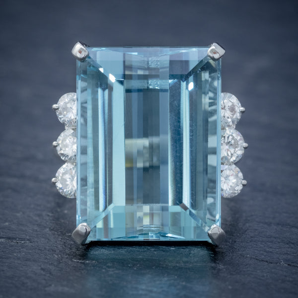 VINTAGE AQUAMARINE DIAMOND COCKTAIL RING PLATINUM 20CT EMERALD CUT AQUA  FRONT