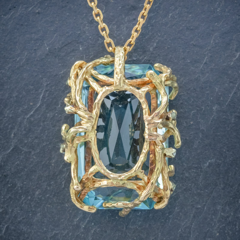 VINTAGE AQUAMARINE DIAMOND PENDANT NECKLACE 18CT GOLD 42CT SCISSOR CUT AQUA BACK