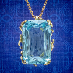 VINTAGE AQUAMARINE DIAMOND PENDANT NECKLACE 18CT GOLD 42CT SCISSOR CUT AQUA COVER