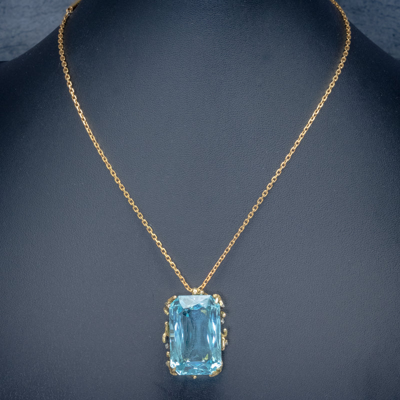 VINTAGE AQUAMARINE DIAMOND PENDANT NECKLACE 18CT GOLD 42CT SCISSOR CUT AQUA NECK