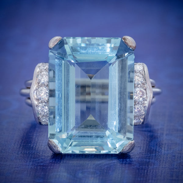 VINTAGE AQUAMARINE DIAMOND RING 14CT WHITE GOLD 15CT EMERALD CUT AQUA COVER