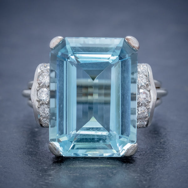VINTAGE AQUAMARINE DIAMOND RING 14CT WHITE GOLD 15CT EMERALD CUT AQUA  FRONT