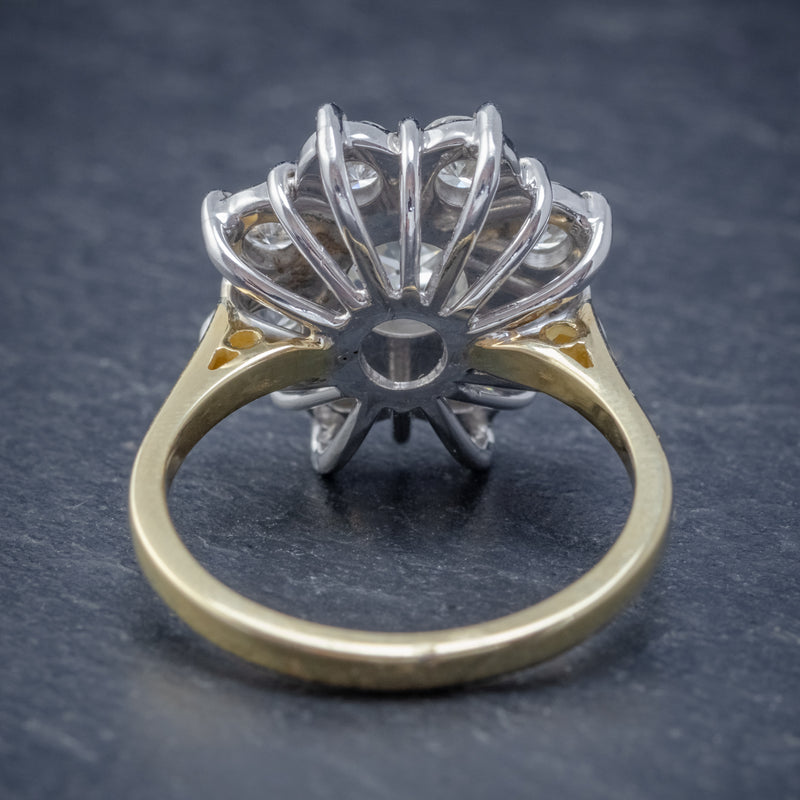 VINTAGE DIAMOND CLUSTER DAISY RING 18CT GOLD 2.80CT OF DIAMOND BACK