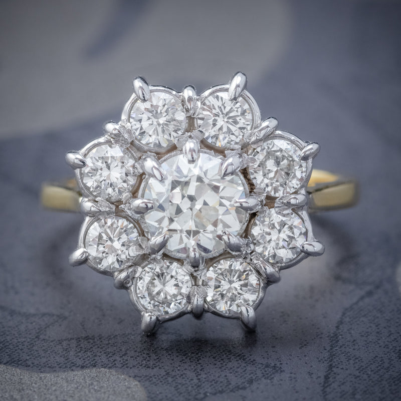 VINTAGE DIAMOND CLUSTER DAISY RING 18CT GOLD 2.80CT OF DIAMOND COVER