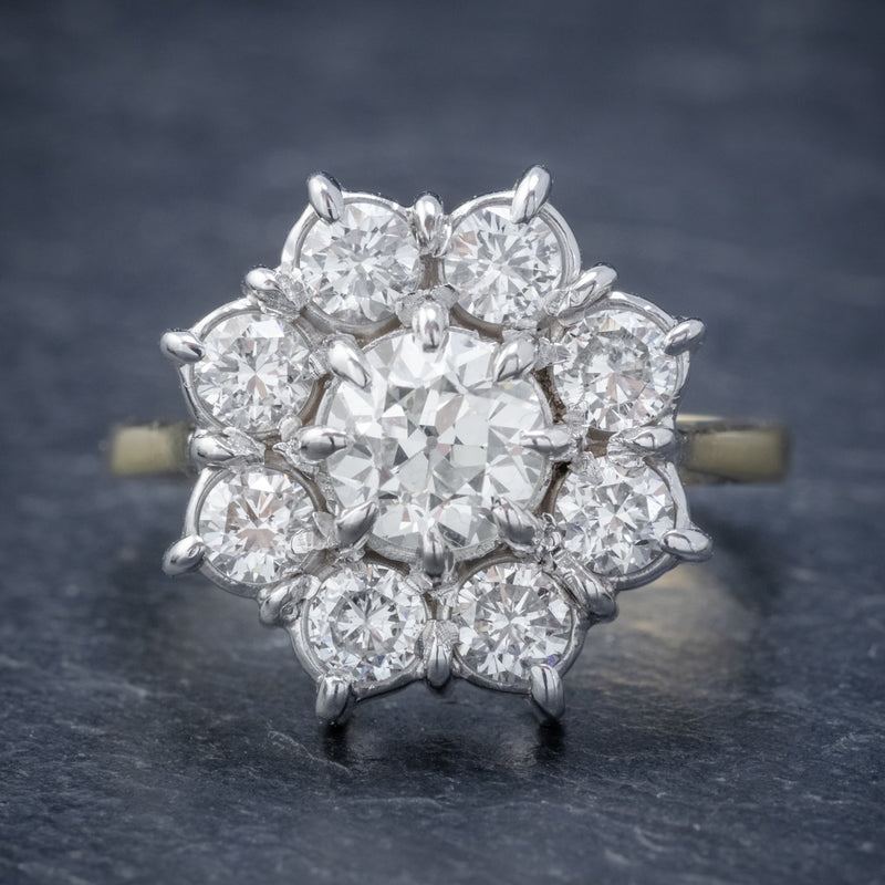VINTAGE DIAMOND CLUSTER DAISY RING 18CT GOLD 2.80CT OF DIAMOND FRONT