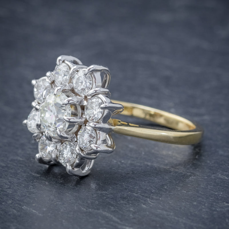 VINTAGE DIAMOND CLUSTER DAISY RING 18CT GOLD 2.80CT OF DIAMOND SIDE