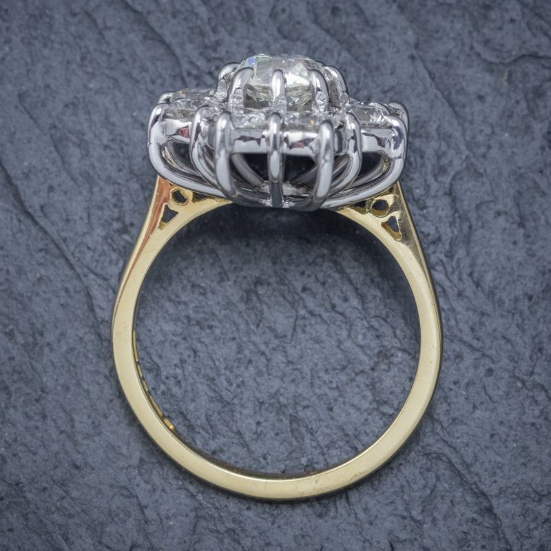 VINTAGE DIAMOND CLUSTER DAISY RING 18CT GOLD 2.80CT OF DIAMOND TOP