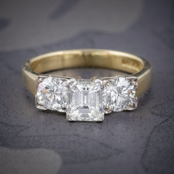 VINTAGE DIAMOND TRILOGY RING 18CT GOLD PLATINUM 2CT DIAMONDS COVER