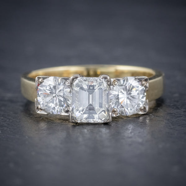 VINTAGE DIAMOND TRILOGY RING 18CT GOLD PLATINUM 2CT DIAMONDS FRONT