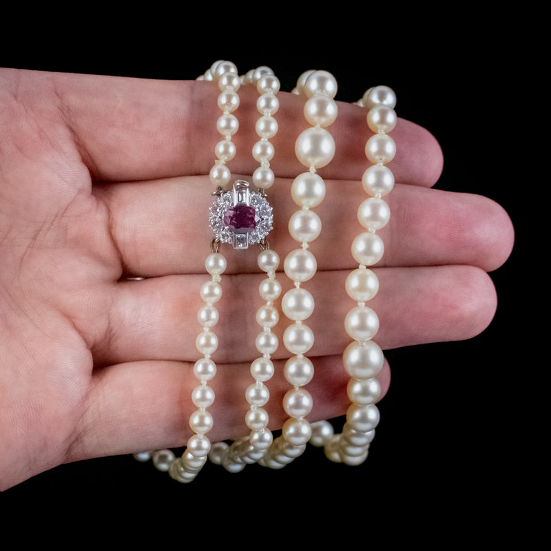 VINTAGE DOUBLE PEARL NECKLACE RUBY DIAMOND 18CT GOLD CLASP WITH CERT
