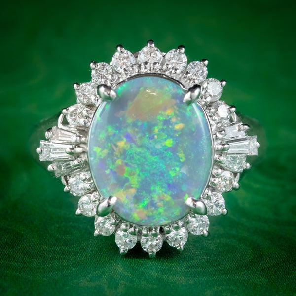 VINTAGE OPAL DIAMOND CLUSTER RING PLATINUM 2.64CT OPAL 0.66CT DIAMOND