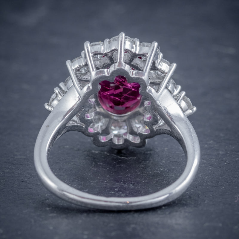 VINTAGE RUBY DIAMOND CLUSTER RING NATURAL 3.20CT RUBY 2.50CT DIAMONDS 18CT WHITE GOLD CERT BACK