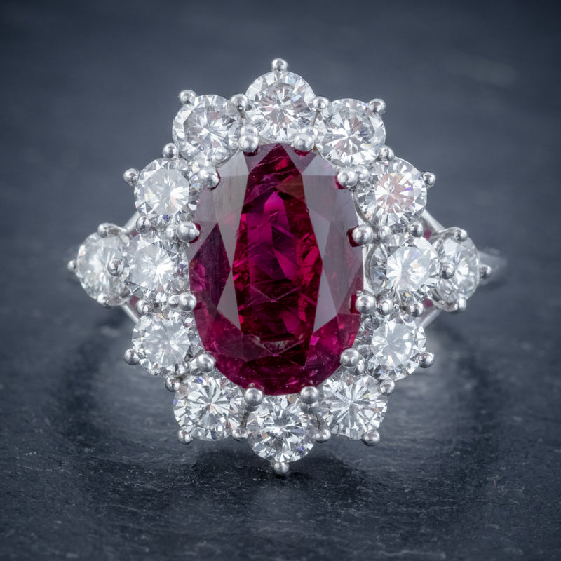 VINTAGE RUBY DIAMOND CLUSTER RING NATURAL 3.20CT RUBY 2.50CT DIAMONDS 18CT WHITE GOLD CERT FRONT
