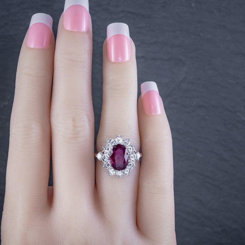 VINTAGE RUBY DIAMOND CLUSTER RING NATURAL 3.20CT RUBY 2.50CT DIAMONDS 18CT WHITE GOLD CERT HAND
