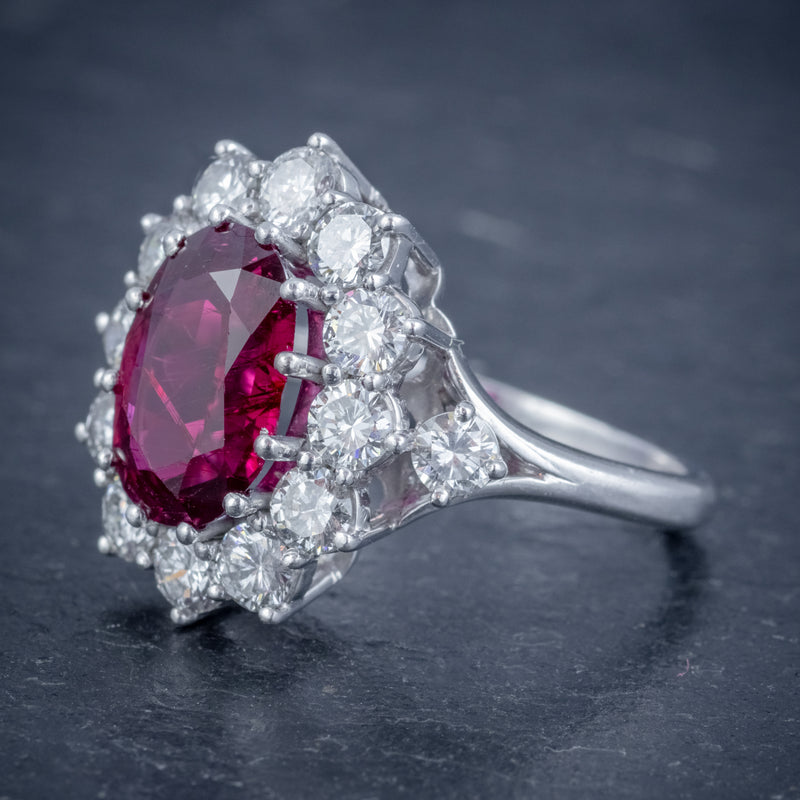 VINTAGE RUBY DIAMOND CLUSTER RING NATURAL 3.20CT RUBY 2.50CT DIAMONDS 18CT WHITE GOLD CERT SIDE