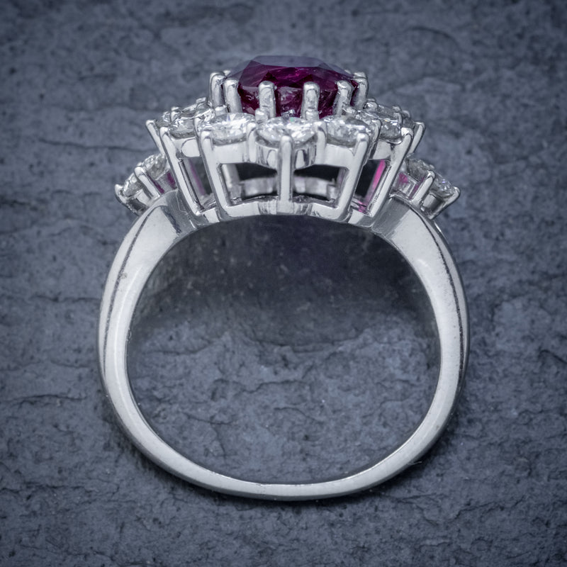VINTAGE RUBY DIAMOND CLUSTER RING NATURAL 3.20CT RUBY 2.50CT DIAMONDS 18CT WHITE GOLD CERT TOP