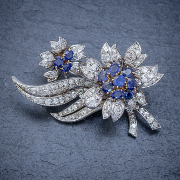 VINTAGE SAPPHIRE DIAMOND SPRAY FLOWER BROOCH 18CT GOLD 4CT OF DIAMONDS CIRCA 1960 FRONT