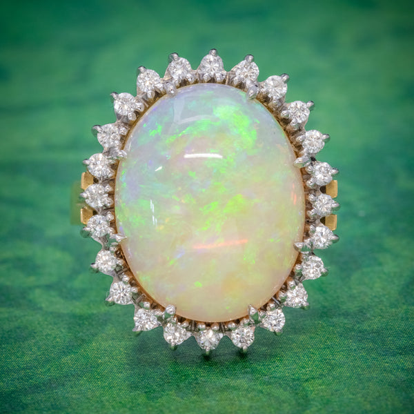 VINTAGE 12CT NATURAL OPAL CLUSTER RING 18CT GOLD CIRCA 1960 COVER