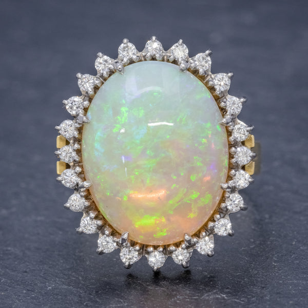 VINTAGE 12CT NATURAL OPAL CLUSTER RING 18CT GOLD CIRCA 1960 FRONT
