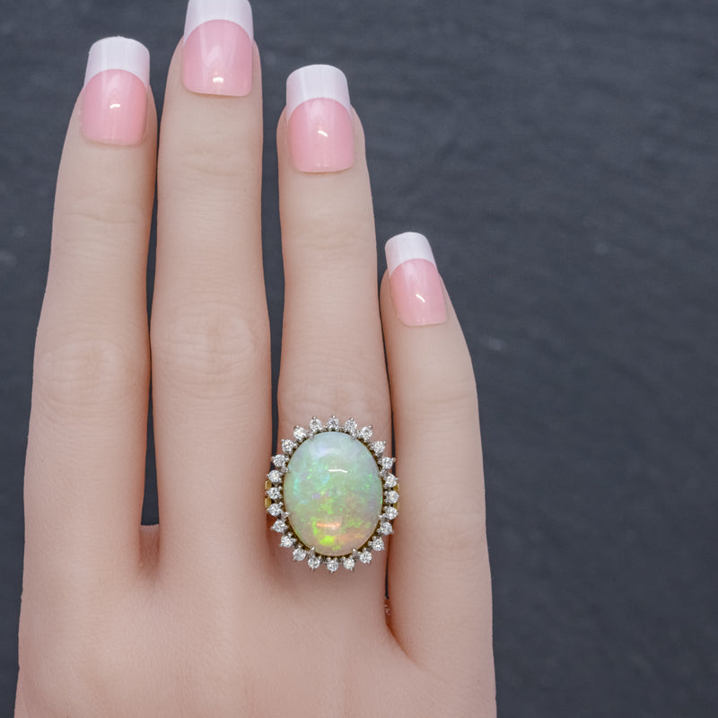 VINTAGE 12CT NATURAL OPAL CLUSTER RING 18CT GOLD CIRCA 1960 HAND