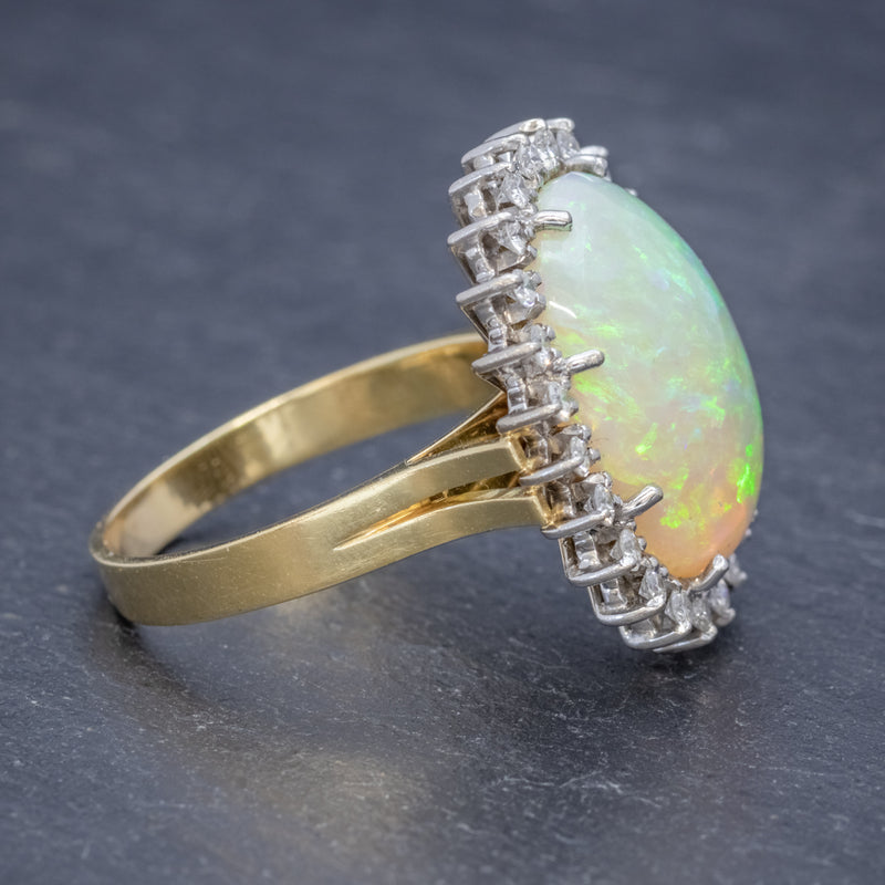 VINTAGE 12CT NATURAL OPAL CLUSTER RING 18CT GOLD CIRCA 1960 SIDE2
