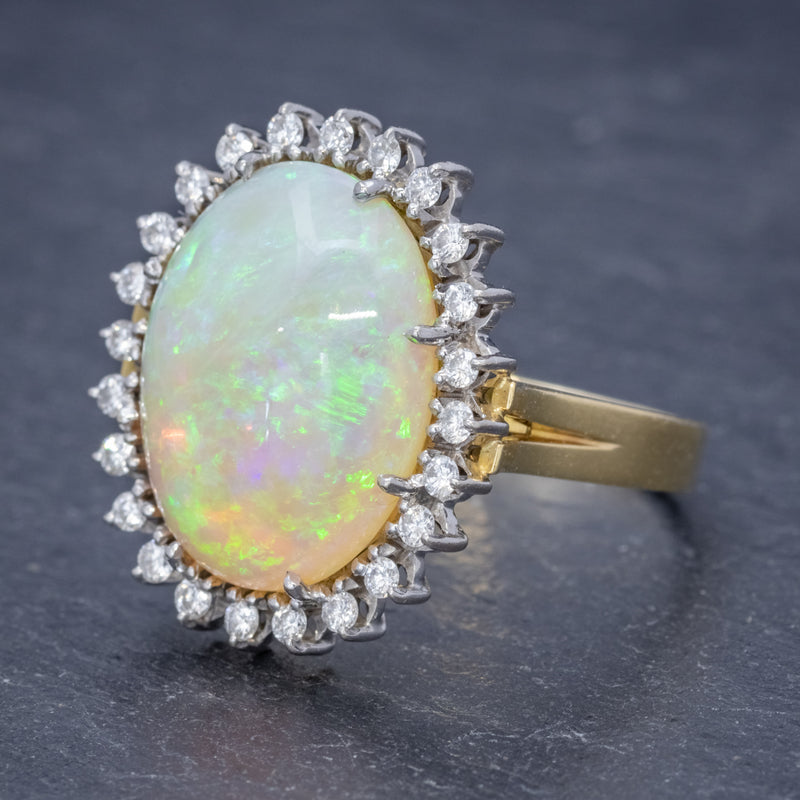 VINTAGE 12CT NATURAL OPAL CLUSTER RING 18CT GOLD CIRCA 1960 SIDE