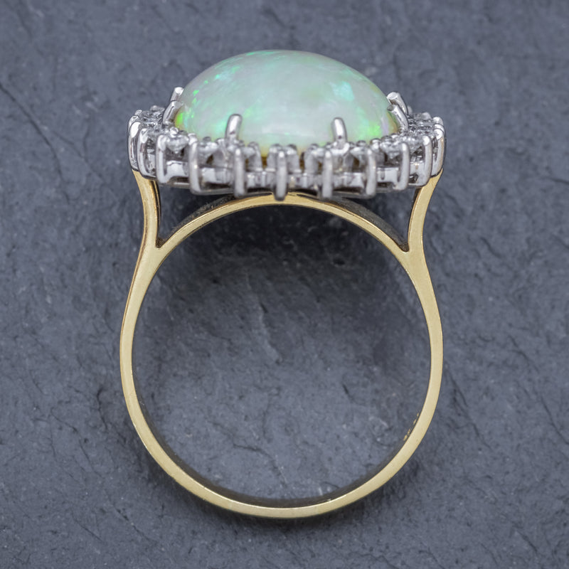 VINTAGE 12CT NATURAL OPAL CLUSTER RING 18CT GOLD CIRCA 1960 TOP