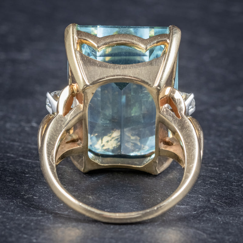 Vintage 26ct Aquamarine Ring 14ct Yellow Gold back