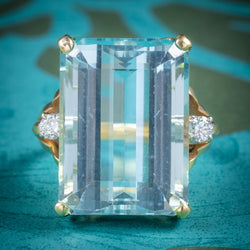 Vintage 26ct Aquamarine Ring 14ct Yellow Gold cover