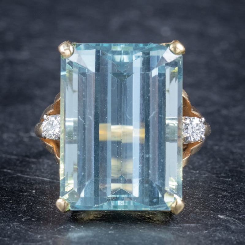 Vintage 26ct Aquamarine Ring 14ct Yellow Gold front