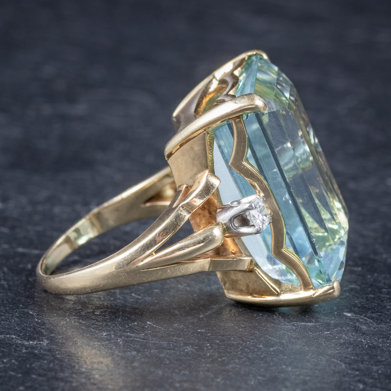 Vintage 26ct Aquamarine Ring 14ct Yellow Gold side 2