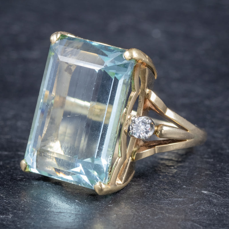 Vintage 26ct Aquamarine Ring 14ct Yellow Gold side