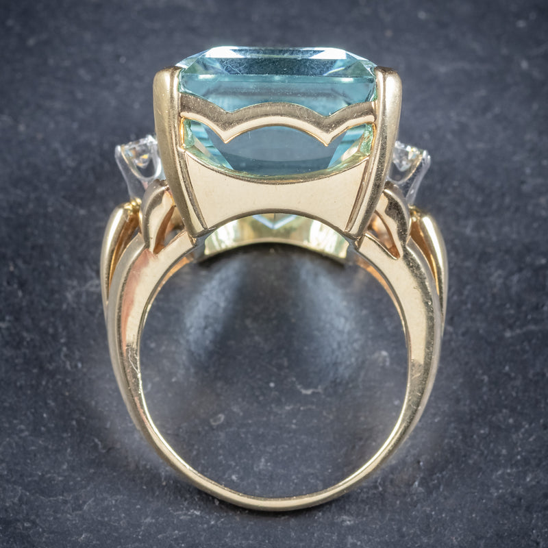Vintage 26ct Aquamarine Ring 14ct Yellow Gold top