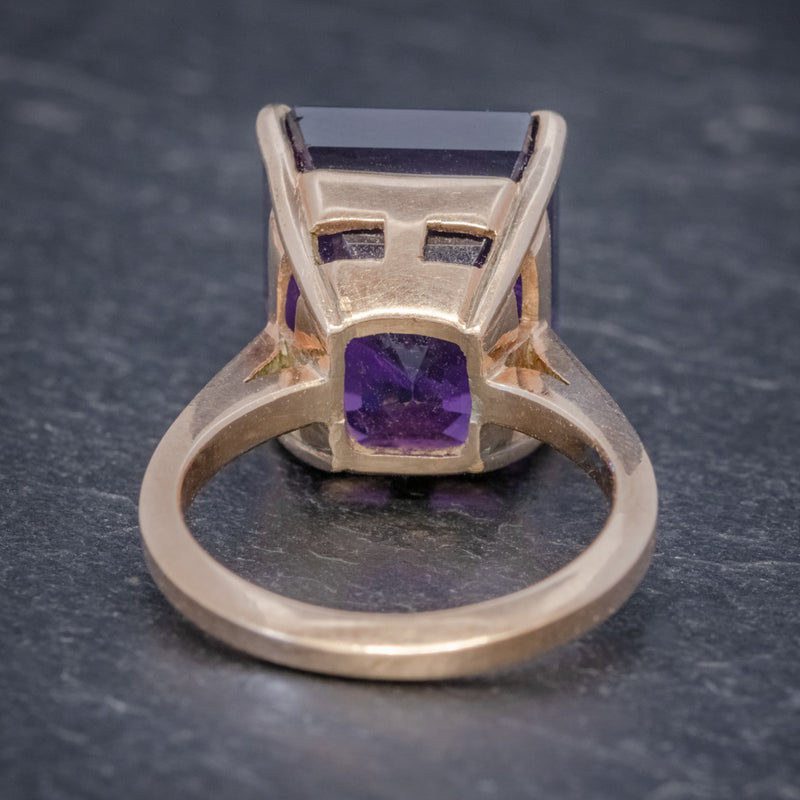 VINTAGE 6CT EMERALD CUT AMETHYST RING 9CT GOLD CIRCA 1960 BACK