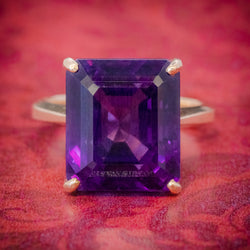 VINTAGE 6CT EMERALD CUT AMETHYST RING 9CT GOLD CIRCA 1960 COVER