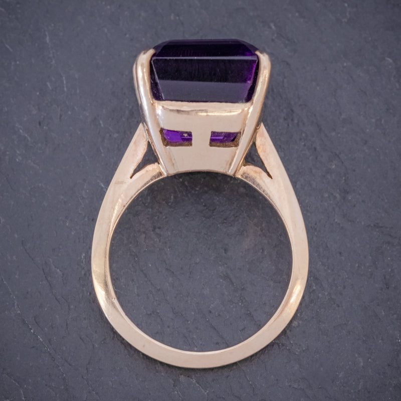 VINTAGE 6CT EMERALD CUT AMETHYST RING 9CT GOLD CIRCA 1960 TOP