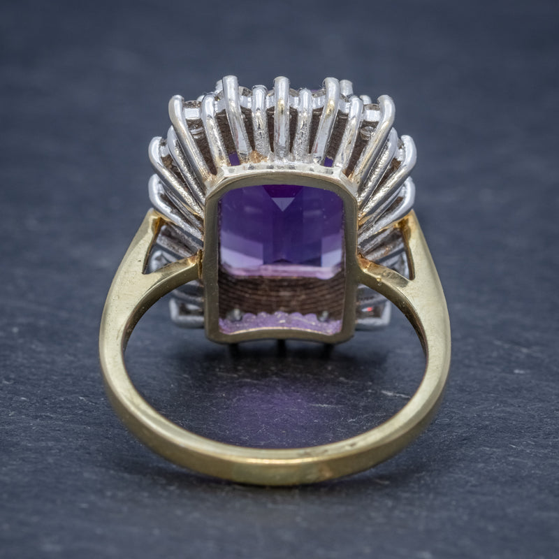 VINTAGE AMETHYST CLUSTER RING 18CT GOLD CIRCA 1950 BACK