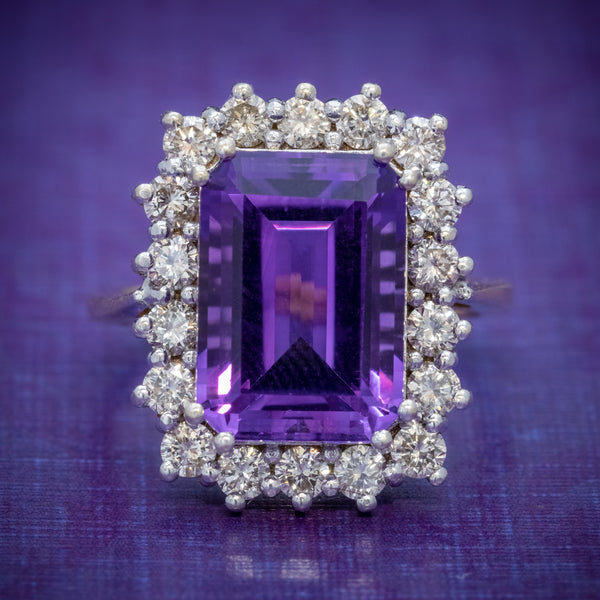 VINTAGE AMETHYST CLUSTER RING 18CT GOLD CIRCA 1950 COVER