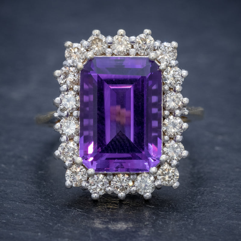 VINTAGE AMETHYST CLUSTER RING 18CT GOLD CIRCA 1950 FRONT