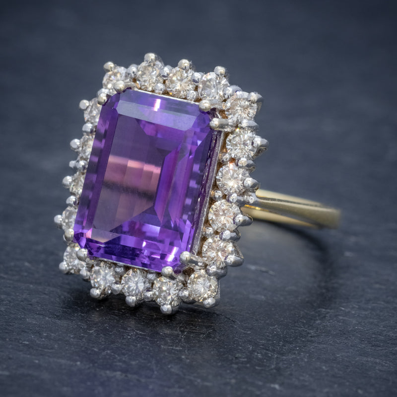 VINTAGE AMETHYST CLUSTER RING 18CT GOLD CIRCA 1950 SIDE